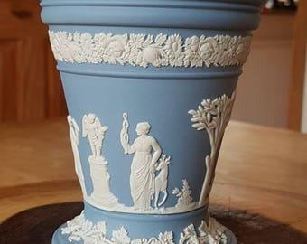 "Authentic ""Wedgwood"" England Jasperware Blue & White Vase- 5"" high! Made in England!"