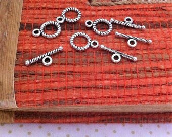 5 sets of small decor wrapped cord, toggle clasps, silver