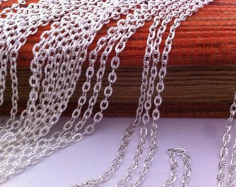 2 hammered 46 cm clasp silver plated link chain necklaces