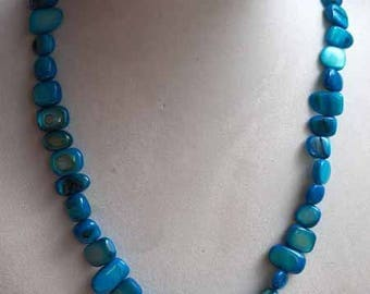 Simple necklace, Pearl, turquoise, crew neck, 42cm, mother of Pearl irregular rectangle 6-12mm