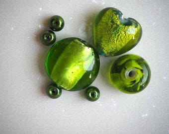 Set of 7 different styles, oval, round, flat, heart glass beads acid Green
