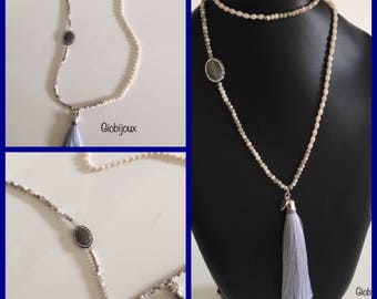 NAPPINA necklace and cabochon in MARCASITE - pearl white and gray