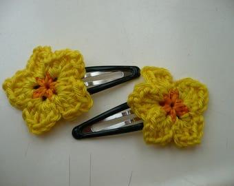 2 yellow crochet flower hair bow barrettes