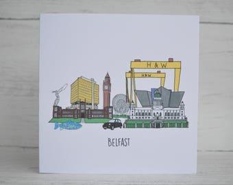Belfast Landmarks Card, Béal Feirste, Belfast Skyline, Northern Ireland, Titanic