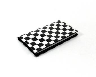 Checkbook black and white Plaid, elegant and feminine