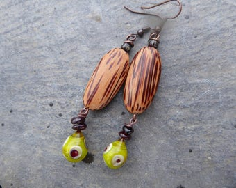 Poetic earrings rustic spring colors - beads, Lampwork, wood, gem stone