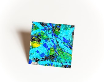 """Sky: I Brooch, 1 7/8"""" sq. Color, light, energy, and style. One-of-a-kind!"""