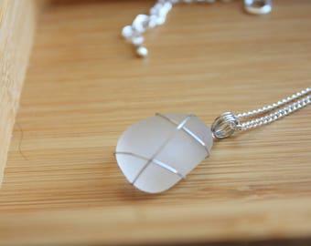 Frosty White seaglass pendant