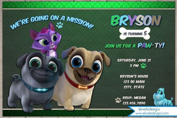 Puppy Dog Pals Birthday Invitation Puppy Birthday – Puppy Dog Birthday Invitations