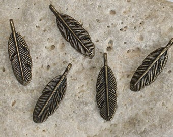 5 9 X 29 mm antique bronze feather charms