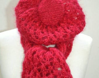 Red silk and mohair lace scarf