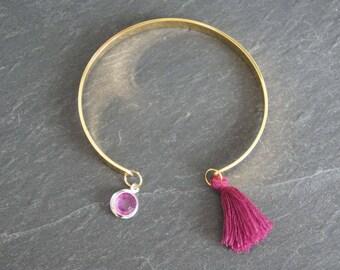 Gold Bangle - purple-pink tassel