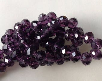 LOT 40 round DONUT 8 FACETED glass beads / 6mm TRANSPARENT purple 19