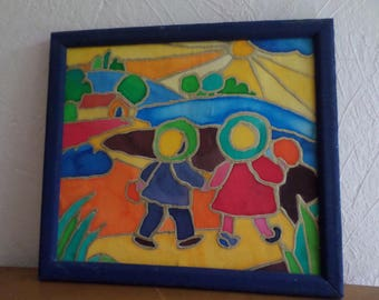 painting on silk: two children holding hands