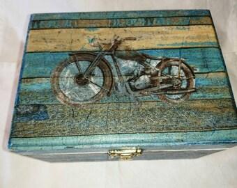 Mens Blue Trinket Box,with vintage car and bike images
