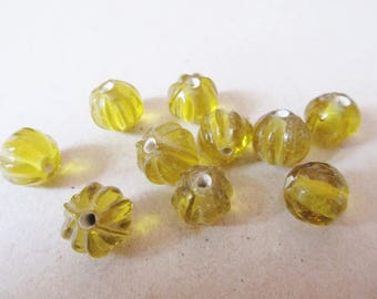 10 transparent deep yellow worked glass beads