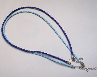 2 laps neck faux 45 cm. 2 shades of blue.
