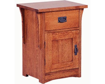 Classic Stickley Style Mission Oak (Space Saver) 1 Drawer / 1 Door Nightstand Table