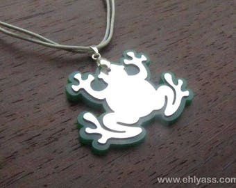 Green and silver frog pendant