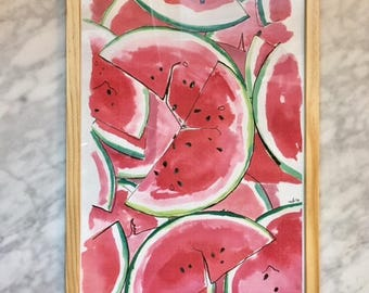 Watermelons - A4 framed