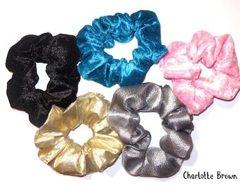 Handmade Hair Scrunchies   Crushed Velour Velvet Scrunchies   Metallic Scrunchies