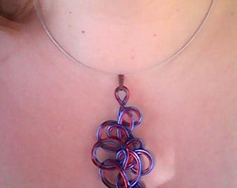 neck seam Navy bead silver foil and aluminum