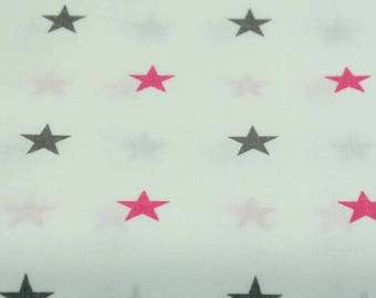 printed 100% cotton fabric - pink and gray stars on white background