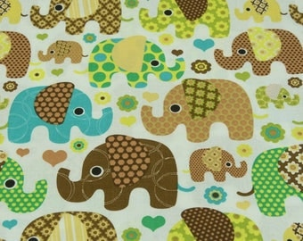 """50cm of fabric """"blue, Brown elephants"""" 100% cotton white background"""