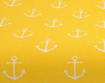 fabric white anchors on a yellow background - 100% cotton