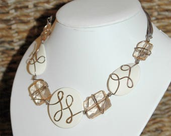 Aluminum wire - salmon and ivory necklace