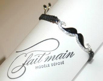 Macrame black and silver and black mustache charm bracelet