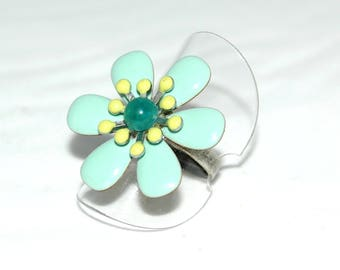 """Ring """""""" made of brass and turquoise blue enameled metal"""