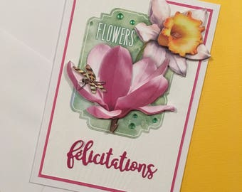 Picture flowers greeting card in