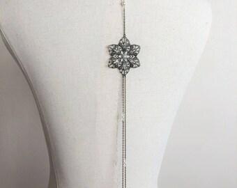"""Back """"Flora"""" with swarovski pearls wedding jewelry necklace"""