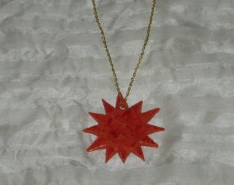 Fiery - Polymer clay sun, burnt orange and bright red swirl pendant necklace