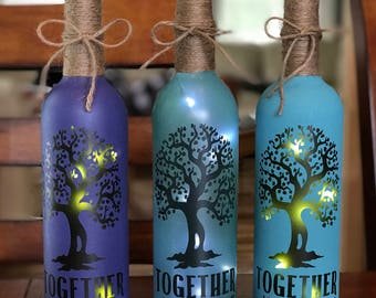 Together We Make Family Lighted Wine Bottle