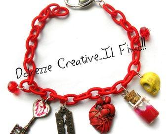 Horror bracelet - anatomical heart, blood, keys and the blade