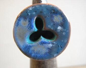 """Wood and ceramic """"Porquerolles"""" ring"""