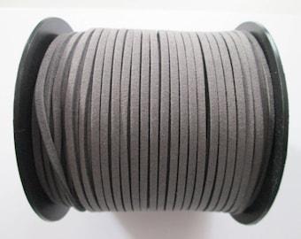 3 mètre cordon plat suédine largeur 2.5 mm couleur : gris foncé
