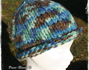 Mixed basic Beanie knitting pattern. Blue, green and Brown.