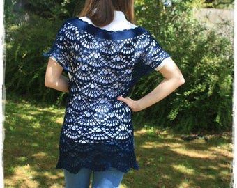 Dress crochet dress, tunic airy blue cotton Navy.