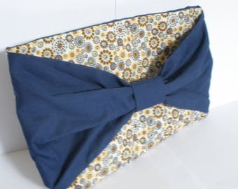 summer art printed fabric and blue bow