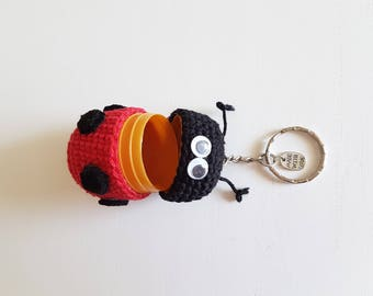 Ladybug Keychain with crocheted Hider treasure