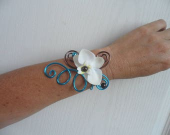 Floral with Orchid - chocolate and turquoise bracelet