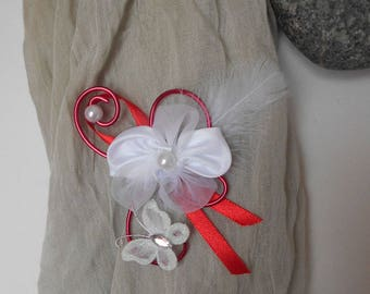 PIN for shawl - floral and red and White Butterfly