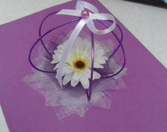 Table decoration for wedding - purple and white table centerpiece