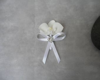 Lapel pin for wedding - silver and white with Orchid