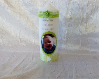 Candles personalized with date and name for communion or baptism photo