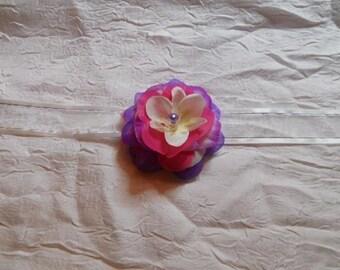 "Flower white /violet /fuschia ""procession Ribbon necklace"