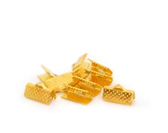 10 tips clips gold ribbons 13 mm